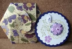 Round card with hexagonal envelope.  CD holder, gift card holder, or a card that is unique!