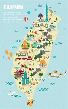 Travel infographic Lovely Taiwan Travel Map In Flat Design Style Royalty Free Cliparts Vectors An Map Design, Free Design, Travel Design, Spain Travel, Asia Travel, Taiwan Itinerary, Taiwan Image, Taipei Travel, Travel Maps