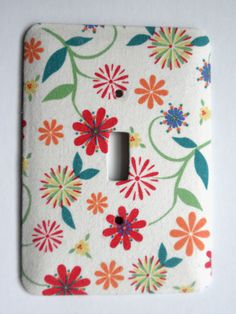 Multi Color Floral Single Switch Plate with Ecru by ClaireMDesigns