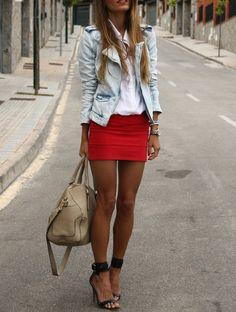Love this ensemble! #denim #structured #jacket #blazer #red #miniskirt #skirt #heels #shoes #shoelove #handbag #outfit #obsessed #effortless #cool #nightout #style #fashion #whiteshirt