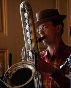 A few photos of musicians from the past weekend's French Quarter Festival. We hung around the Palm Court in part to hear the Bad Penny Pleasuremakers and this bass saxophone which my brother in law insisted was a rare sighting. #nola #travel #travelingram #music #festival #jazz #swing #frenchquarter #frenchquarterfest by keithmays
