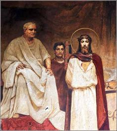 Pilate's Court, Wilhelm Kotarbinski ca. 1890. This fresco in the marvelous St. Vladimir Cathedral, Kiev, shows just a hint of Art Nouveau.
