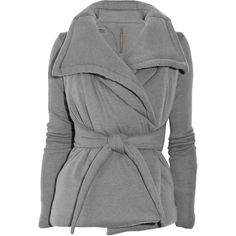 Rick Owens Lilies Gray Quilted Jersey Jacket ❤ liked on Polyvore
