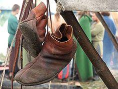 Turnshoes drying at a Viking reenactment in Europe.
