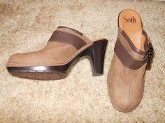 SOFFT Brown Leather Clog Platform Buckle Heel Size 9.5M #Sofft #ClogMule #Any