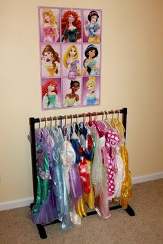 Easy and Affordable Princess Dress Hanging Rack - Mom. - Easy and Affordable Princess Dress Hanging Rack Source by clarkpeterson - Little Princess, Princess Princess, Toddler Princess Room, Disney Princess Room, Little Girl Rooms, Little Girls, Dress Up Storage, Kids Dress Up, Play Dress