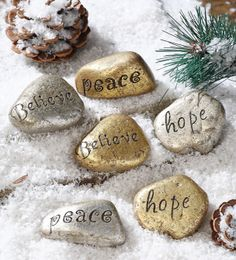 Rock messages...Find smooth rocks, write a message  them on hikes & camping trips.