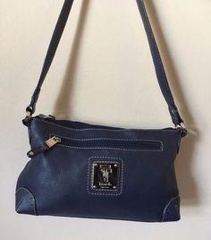 Tignanello Purse Womens Blue Pebbled Leather Satchel Bag    eBay