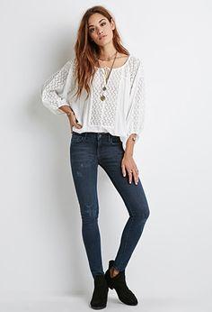 Dark Sanded Wash Skinny Jeans