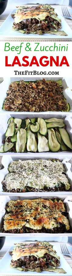 This beef and zucchini lasagna is a healthy and tasty alternative to normal lasagna. You don't need pasta or heavy sauce, so it's great for a fitness diet.