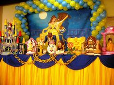Risultati immagini per decoração de festa tema a bela e a fera