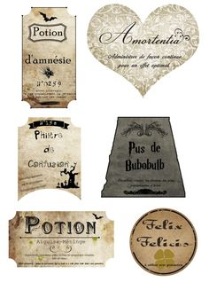 Harry Potter objects-DIY-Labels to print Curiously Good To print Harry Potter Magie, Objet Harry Potter, Décoration Harry Potter, Harry Potter Thema, Classe Harry Potter, Mundo Harry Potter, Harry Potter Cosplay, Harry Potter Wedding, Harry Potter Birthday