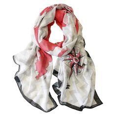 Oversized Chevron Map Scarf - Red