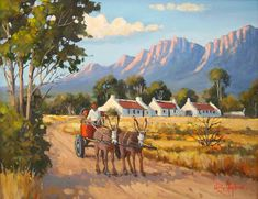 Willie Strydom - Donkey Cart - 450 x 350 Canvas Painting Projects, Easy Canvas Painting, Painting Tips, Farm Paintings, African Art Paintings, Original Paintings, Africa Painting, Africa Art, Windmill Art
