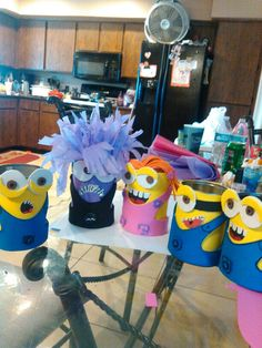 Minion candy can holders.