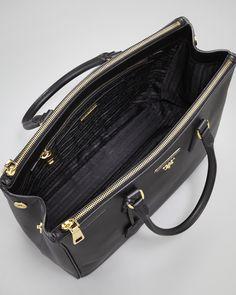 $1960 Prada Saffiano Executive Tote Bag, Nero - Neiman Marcus