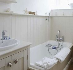 Click Pic for 30 Small Bathroom Ideas on a Budget | White Painted Wood Panelling | DIY Small Bathroom Remodel