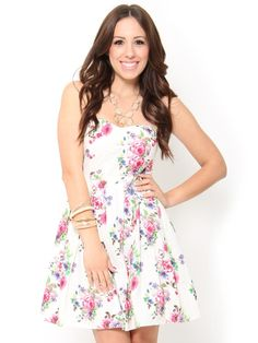 Adorable Strapless Floral Print Dress