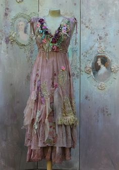 Fallen petals dress - long bohemian romantic dress, baroque inspired, , altered couture,wearable art