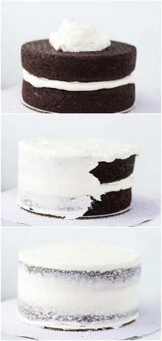 A step-by-step tutorial with pictures on how to frost a layered cake. I walk you through the basic steps in frosting a layered cake and provide the tools you will need. #howto #cake