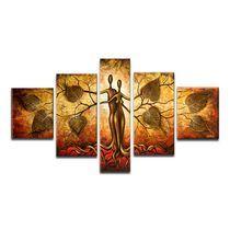 Design Art- Homme et Nature - Peinture sur Toile Texturée - 58 X 36 Po - 5 Panneaux