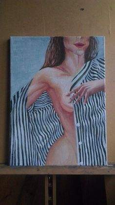 beautiful woman act acrylic painting mystery