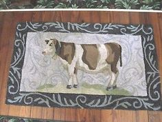 "Vintage Hooked Area Rug - Cow - Farm Animal - 44"" x 26"""