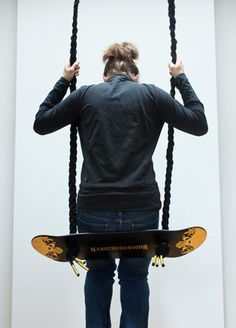 #upcycled #skateboard Used As A Swing , Great #design Idea