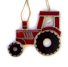 Stained glass tractor sun catcher
