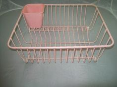 Vintage PINK KITCHEN SINK DISH DRAINER DRYING ENAMEL WIRE RACK with