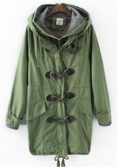 Fall Fashion Trends! Khaki! Army Green! Love this Coat! Army Green Khaki Drawstring Trench Coat