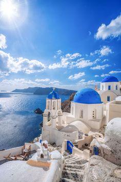 Blue domes, Oia, Santorini, Greece #SantoriniGreece