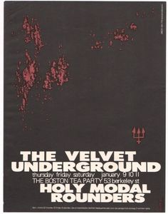 The Velvet Underground and Holy Modal Rounders, flyer for 3 shows at the Boston Tea Party, January 1969 #Poster #Flyer
