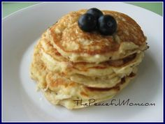 Oatmeal Pancakes made with leftover oatmeal from The Peaceful Mom.com. Brilliant!