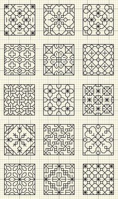 Esquemas Embroidery Stitches, Felt Embroidery, Blackwork Embroidery, Machine Embroidery, Embroidery Patterns, Stitch Patterns, Black Work, Graph Paper Drawings, Graph Paper Art