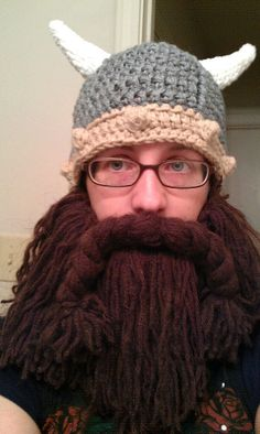 Crochet Viking Bearded Hat! by bramblpike on etsy.  Great if you can't grown your own lol!