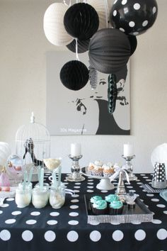 Audrey Hepburn dessert table by 30s Magazine