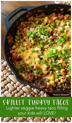 Quick and easy taco skillet will get your kids gobbling their veggies. Perfect busy night dinner for a school night. Mix together ground turkey with taco seasoning, your favorite taco toppings, and then top with melted cheese. Go dunking with crispy tortilla chips. Easy Meals For Kids, Kids Meals, Peanut Blossoms, Taco Seasoning, Melted Cheese, Tortilla Chips, Book Club Books, Ground Turkey, Skillet