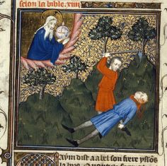 """The Bible historiale was created by 3 artists in Paris around the year Medieval Times, Medieval Art, Medieval Manuscript, Illuminated Manuscript, Maleficarum, Cain And Abel, Medieval Paintings, Genesis 1, Book Of Hours"