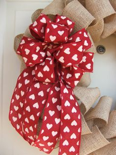 Valentines Day Burlap Ribbon Wreath with Red Valentine Heart Bow