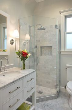 Enchanting Master Bathroom Shower Design Ideas Calming White Marble Small Bathroom Design Ruth In 2019 Bathroom Bathroom Design Small Basement Bathroom Modern Shower, Transitional Bathroom, Transitional Decor, Bathroom Design Small, Bath Design, Small Master Bathroom Ideas, Tile Design, Small Bathroom With Shower, Simple Bathroom