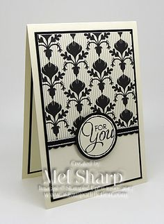 handmade card ... like this design ... would use it for a monogram ... black and white ... patterned paper makes  it pop ... Stampin' Up!