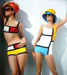 Piet Mondrian inspired beach fashion, Burda Moden, Summer 1966