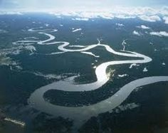 Peru, Loreto Region, Aerial view of Amazon River near Iquitos