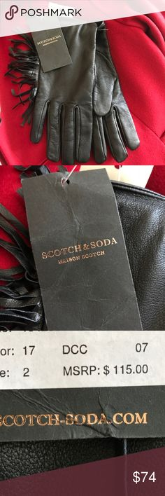 NWT Scotch & Soda Leather Fringed Gloves In perfect new condition, size 2 Scotch & Soda Accessories Gloves & Mittens