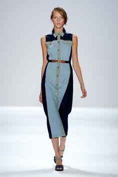 Denim Colorblocked Midi Dress; Charlotte Ronson Spring 2012