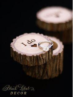 Engraved Wood Wedding Ring Bearer Slice Rustic by BlackLabelDecor