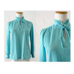 Bow Tie Blouse Pastel Blouse 70s Top Baby Blue Top Secretary Blouse Ruffle Blouse Pleated Top Dolly Indie Small Medium by GoodLuxeVintage on Etsy