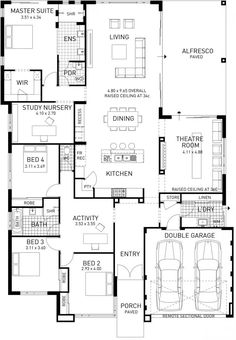 The Catherine Bay Four Bed Single Storey Home Design Plunkett Homes Four Bedroom House Plans, 4 Bedroom House Designs, Two Story House Plans, Two Story Homes, Dream House Plans, House Floor Plans, Single Storey House Plans, Home Design Plans, Plan Design