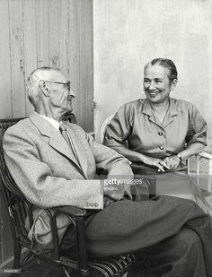 Hermann Hesse and his wife, German author. Winner of the Nobel prize in literature (1946). Photography. 1955. (Photo by Imagno/Getty Images) [Hermann Hesse mit seiner Frau, deutscher Schriftsteller. Literaturnobelpreistraeger (1946). Photographie. 1955.]